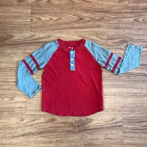 GAP Boys Henley Long Sleeve Red Grey XS 4-5 Years
